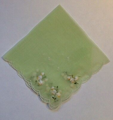 Great Vintage Swiss Green Nylon Hankie w/ White Lily of the Valley