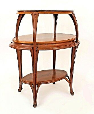 French Art Nouveau Walnut Oval Shaped 3 Tier Etagere Table