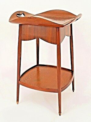 French Art Nouveau Walnut Square End Table Having a Floral Inlaid Tray Top