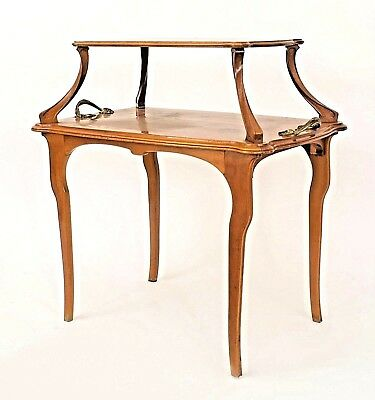 French Art Nouveau Walnut Rectangular 2-Tier Table
