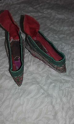 Antique Chinese Embroidered Lotus Shoes Slippers for Bound Feet or Foot Binding