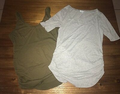 Two Old Navy Maternity Tops Tank And Half Sleeve Scoop Neck Large