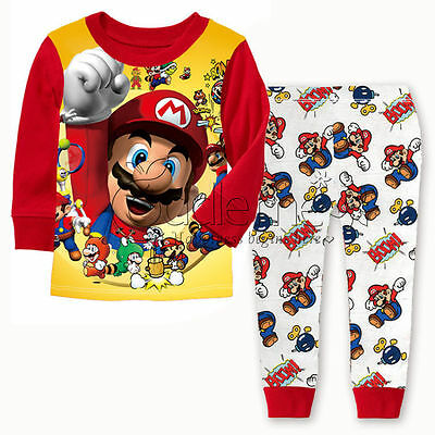 Super Mario Kids Pyjamas 2 pcs Set Christmas Birthday Gift