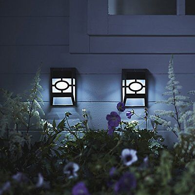 Twin Pack of White LED Solar Garden Fence Lights by Lights4fun