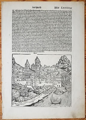 Incunable Leaf Schedel Liber Chronicorum Lyon France - 1493