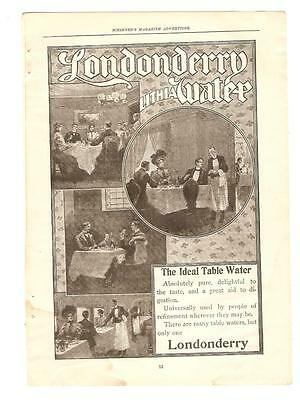Antique Original 1899 FULL PAGE Print Ad - Londonderry Lithia Table Water