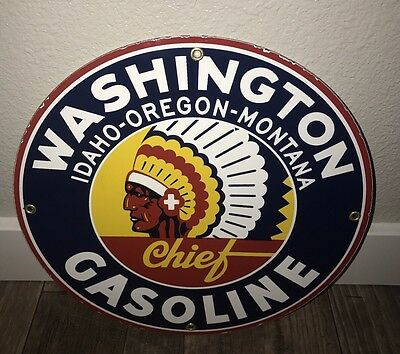 Washington Gasoline Vintage Porcelain Sign Pump Plate Gas Garage Motor Oil