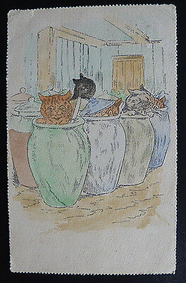Vintage Cat Postcard, Unsigned Louis Wain?- Posted 1906