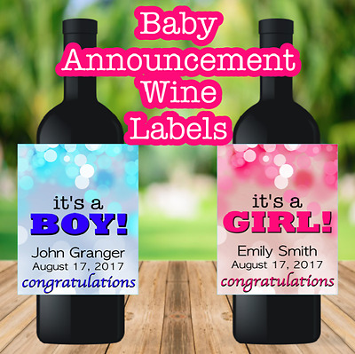 Baby Announcement Wine Label Sticker It's a Boy It's a Girl Personalized Custom