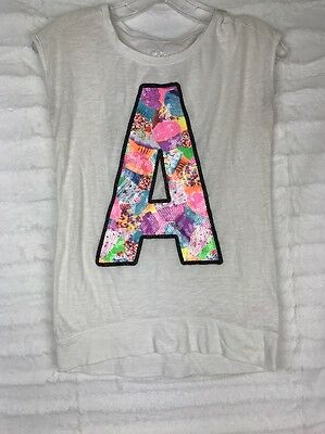 JUSTICE Tee Shirt Top Graphic Sequin letter A Girls size 8 / 10 ~G224
