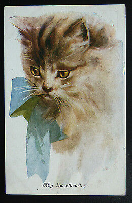 "Vintage Art Cat Postcard - ""My Sweetheart""- Posted 1919"