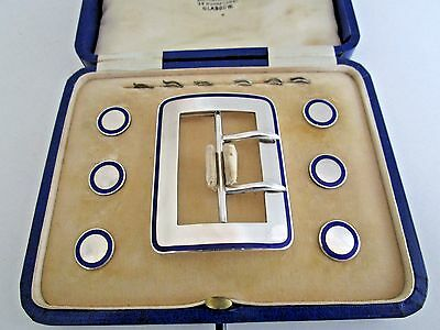 Sterling Silver & Enamel Belt Buckle & Buttons..Hallmarked Birmingham 1911..