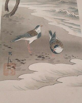 Beautiful Japanese Water colour signed and stamped provenance c1900
