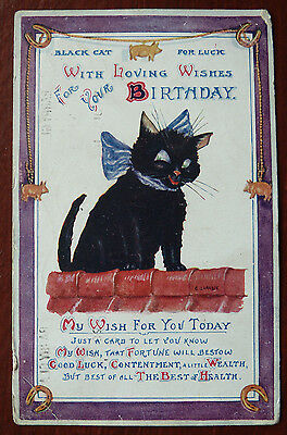 Vintage Cat Postcard- Good Luck Black Cat with Symbols- Posted 1916