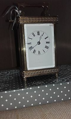 Antique brass carriage clock with key & all in working order