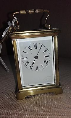 Antique Brass Carriage Clock with Key & in Working Order