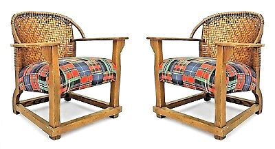 Pair of American Rustic Old Hickory Mission Tub Arm Chairs