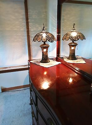 Antique Pierced Brass Table Lamp with Scalloped Shade 1920's
