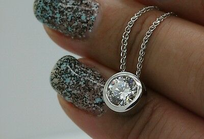 "1Ct Round Solitaire Pendant Necklace Bezel Set 18"" Chain Solid 14K White Gold"