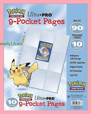 Ultra Pro Pokemon  9 Pocket Pages For your Album Binder Holds 90 or 180 cards