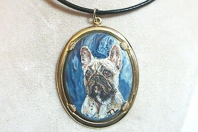 Hand Painted French Bulldog stone pendant