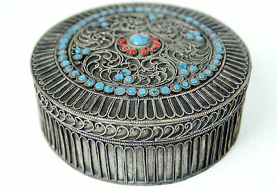 Antique Tibetan Silver Filigree Trinket Jewellery Box 10.25cm  Turquoise & Coral