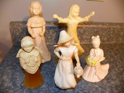 5 Collectible Avon Bottles Sentimental Doll, Church Mouse Bride, Angel song....