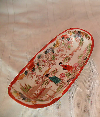 Antique Japanese Dish Hand Painted Scenic Geishas Flowers Condiments Candy