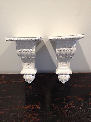 Pair Neutral Finish Plaster Cast Wall Corbel Sconce Shelf Bracket Home Decor NWT