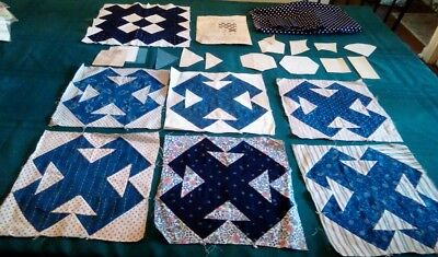 7 Vintage quilt squares block, indigo blue with pattern from 30's