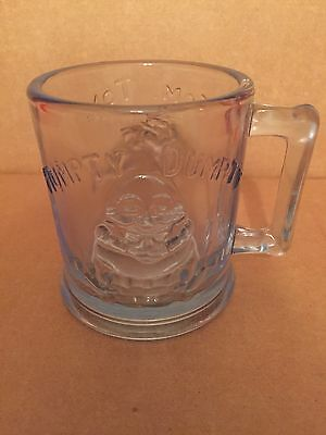Vintage Blue Humpty Dumpty & Tom Tom the Pipers Son Indiana Glass Cup ~ Aqua