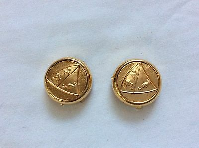 Vtg Solid Bright Brass Gold Tone Animals Logo set of Buttons Pair NOS