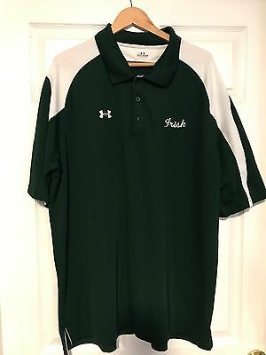 UA Irish Logo Golf Shirt Loose Short Sleeve Green/White  Mens Size XXL