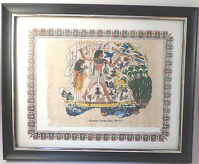 Egyptian Made Framed Hand Painted Papyrus Pharoah Nebamuns Hunting Party Egypt