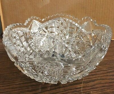 """Glass Engraved Unbranded Large Dish 8"""" Wide 3.5"""" Tall"""