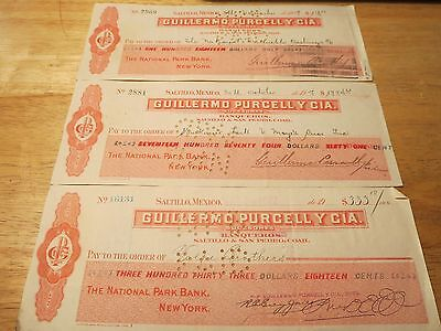 Company Canceled Checks 1917 Saltillo Mexico-The National Park Bank of New York