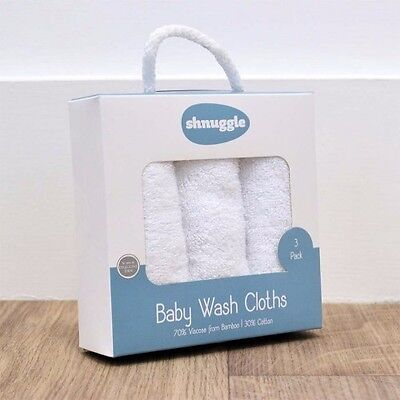 SHNUGGLE BABY WASH CLOTHS PACK OF 3 -Naturally anti-bacterial. From birth