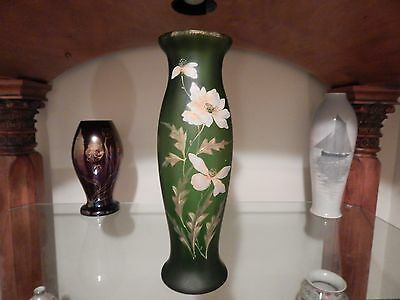 Large Antique Enameled Art Nouveau Bohemian Art Glass Vase Circa 1900