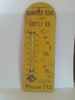 Vintage Wooden Coal And Coke Advertising Thermometer Hanover Coal And Supply Co.