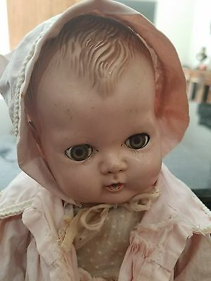vintage older American tiny tears baby doll rubber body molded hair