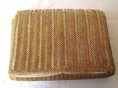 True Vintage WALBORG Gold Hand Beaded Clutch Purse Handbag EXCELLENT