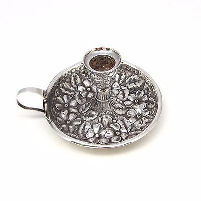 Antique Gorham Sterling Silver Floral Repousse Chamberstick 1890