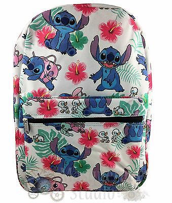 """16"""" Disney Lilo & Stitch Large White All Over Print Backpack Book Bag"""