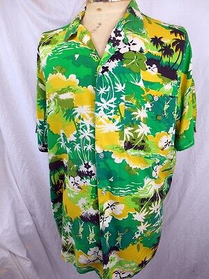 Vintage 70s Green Gold Rayon Santa Fe Hawaiian Aloha Shirt Tiki Rockabilly XL