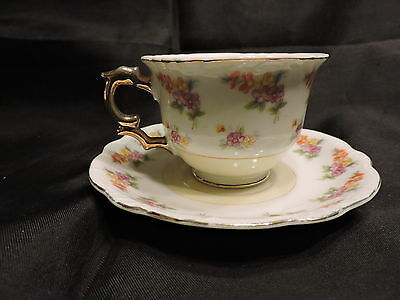 Vintage Porcelain Miniature Teacup & Saucer Japan White with Yellow & Flowers