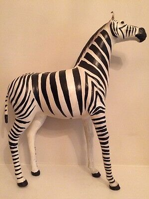 "A PAPER MACHE and LEATHER Large ZEBRA Figure 20"", Mexican Folk Art"
