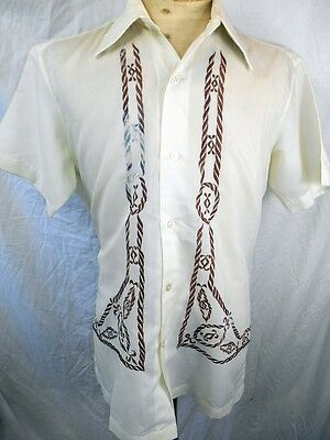 Vintage 70s Short Sleeve Cream Poly/Cotton Embroidered Tropical Resort Shirt L
