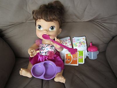 """Baby Alive Hasbro 2013 """"My Baby All gone"""" brunette doll with accessories EUC"""