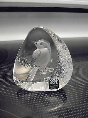 Maleras Full lead Glass Etched Bird Paperweight Sculpture