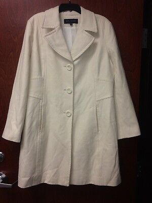 New Womens Anne Klein Cream Wool Blend Coat Jacket Size Large